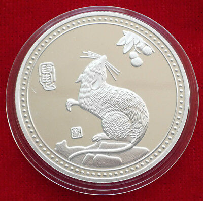 Stunning  Chinese Lunar Zodiac Colored Silver Coin - Year of the Rat