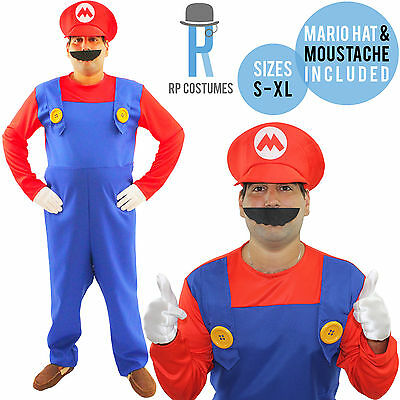 Adult/Mens Super Mario Bros Brothers Fancy Dress Up Party Costume Hat/Moustache