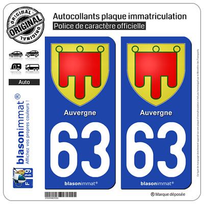 2 Stickers autocollant plaque immatriculation auto : 63 Auvergne - Armoiries