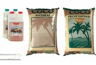 Canna Hydroponics Nutrients & Coco Natural Plus 50L complete grow kit pack A + B