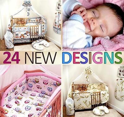 10 Piece Baby Cot Bedding Set 140/120 Duvet Cover Cot Bed Safety Bumper Canopy
