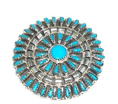 Navajo Turquoise Cluster Sterling Silver Pin - Violet Begay