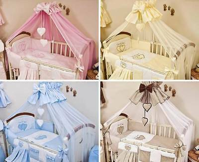 Luxury 8 Piece Nursery Bedding Set Fits Baby Cot / Kids Cot Bed - Love Heart