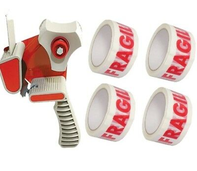 "Tape Gun Dispenser 2"" 50MM + 4 Rolls Of Fragile Parcel Packaging Tape 48MM X 66M"