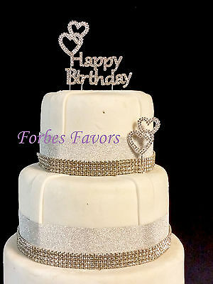 Real Rhinestone Happy Birthday with 2 Double Rhinestone Hearts Set of 3 Silver