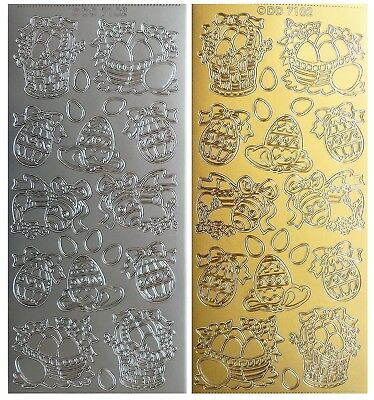 EASTER BASKETS & EGGS Peel Off Stickers Stickers Spring Flowers Gold or Silver