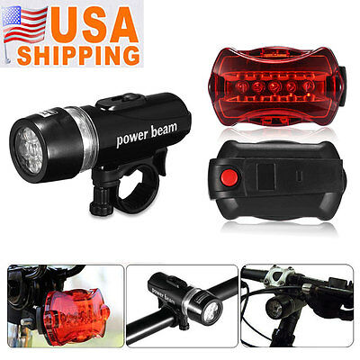 Bike Bicycle 5 LED Lamp Front Head Light + Rear Safety Flashlight Waterproof USA