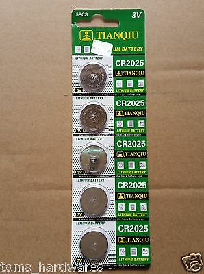 5x GENUINE CR2025 3v Lithium Battery for Calculator etc, EXP:2019 Post from MELB