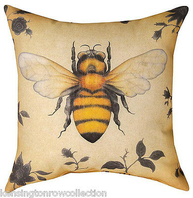 "Throw Pillows - Bee Pillow - 18"" Square - Indoor Outdoor Pillow"