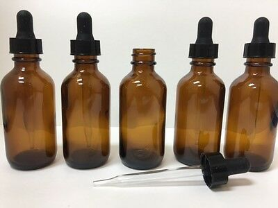 2oz Amber Glass Bottles for Essential Oils with Glass Eye Dropper - Pack of 5