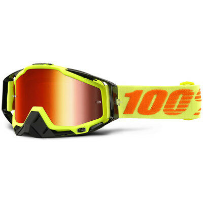 100% Percent NEW Mx Racecraft Attack Yellow Mirror Red Tinted Motocross Goggles