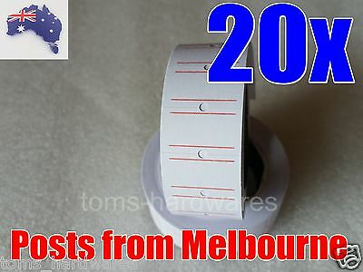 20x Rolls Price Labels RED LINES 21mm x 12mm for Motex MX-5500 / CN5500 5500 etc