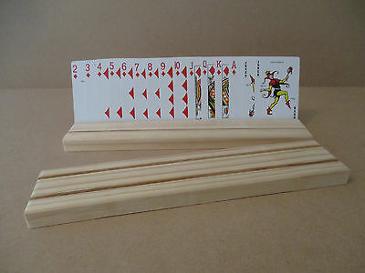 Wooden Playing Card Holders 2 Row - Set Of 2 - Free Postage