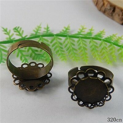 30pcs Vintage Bronze Brass Round Setting Ring Accessories Findings Crafts 50794