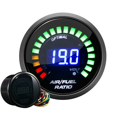 "Hot HOTSYSTEM Car 2"" 52mm 20LED Digital Analog LED Black Air Fuel Ratio Gauge"