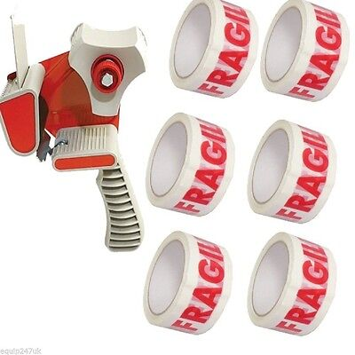 "1 TAPE-DISPENSER-GUN 2"" 50mm + 8 ROLLS OF FRAGILE-PARCEL PACKING TAPE 48MM X 66M"