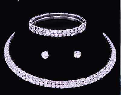 Diamante Crystal Diamond Rhinestone Necklace Choker Silver Wedding Gift Present