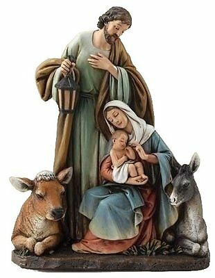 Roman Josephs Studio Slim Profile Holy Family with Barn Animals Figurine, 7.5-In