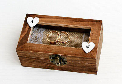 Wooden, Personalized box. Ring holder, glass cover box. Ring Bearer Box Wedding