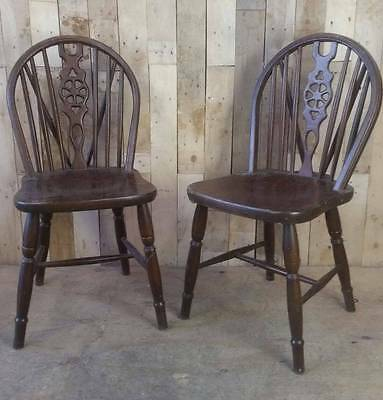 Retro Vintage Wooden Pair Of Wheel Back Chairs - Shabby Chic?