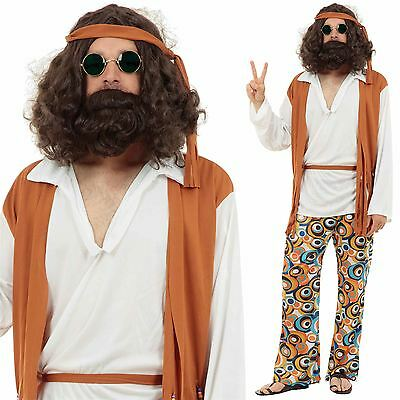 Mens Adult Hippy Hippie Fancy Dress Costume Outfit 60s 70s Woodstock XL Plus