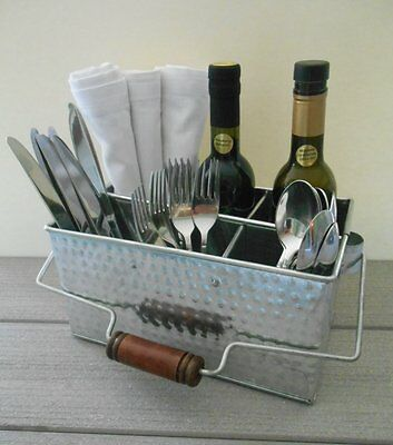 Silverware Hammered Metal Storage Caddy Shabby Chic Flatware Holder with Handle