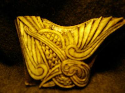 New - Celtic knotwork carving -  Crane in flight -  in Elk Antler