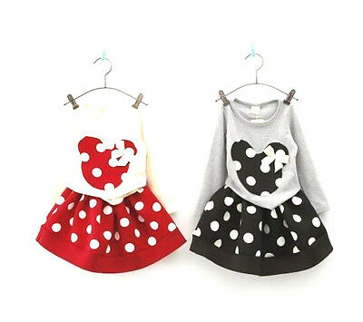Infant Baby Toddler Girls Minnie Mouse Polka Dot Outfit Skirt Short 3T-7 FREE