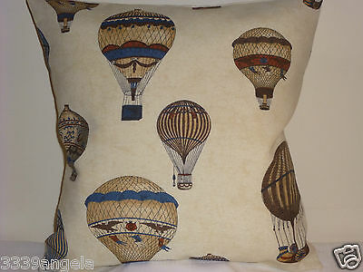 """16"""" Designer Cushion Cover Antique Montgolfier Hot Air Balloons Shabby Vintage"""