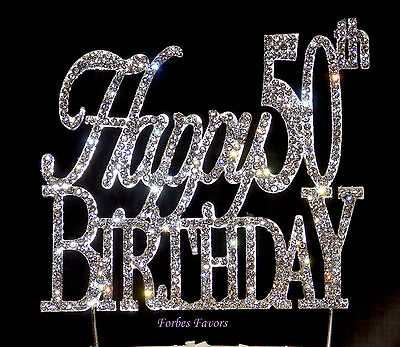 Large Sparkling Silver Rhinestone 50th Happy Birthday Cake Topper by Forbes
