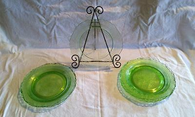"8-1/2"" Luncheon Salad Plates Hazel Atlas FLORENTINE NO. 1 Green Depression Glass"