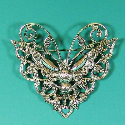 Striking Large Hand Made Sterling Silver Butterfly Brooch Pin LAST ONE !
