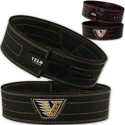 VELO Power Weight Lifting Leather Belt Gym Training Lever Powerlifting Straps