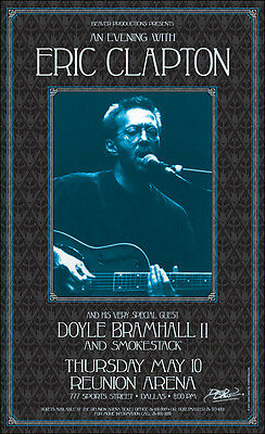 ERIC CLAPTON DOYLE BRAMHALL II Original 2001 Dallas Concert Poster Signed