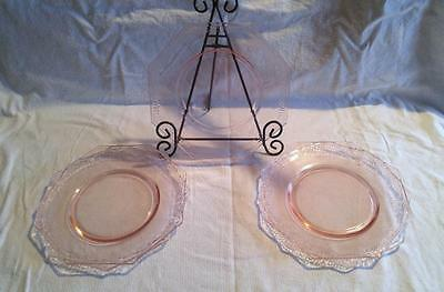 "9"" Octagon Dinner Plates L.E. Smith PEBBLED RIM Pink Depression Glass"