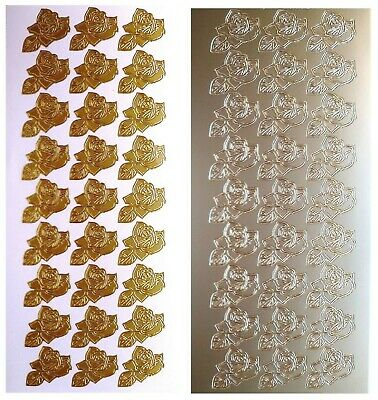 LITTLE ROSES Peel Off Stickers Small Rose Flower Wedding Stationery Gold Silver