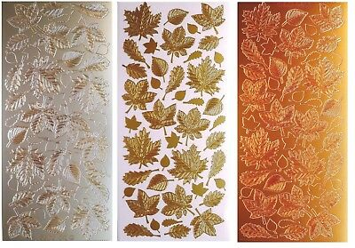 AUTUMN LEAVES Peel off Stickers Fall Leaf Garden Card Making Bronze Gold Silver
