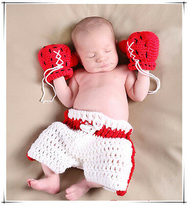 Newborn Baby Crochet Woolen Boxing Gloves Pants Outfit Photography Props Costume