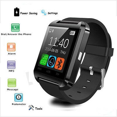 Intelligente Orologio Bluetooth Polso U8 Smart Watch per Android iPhone IOS Nero