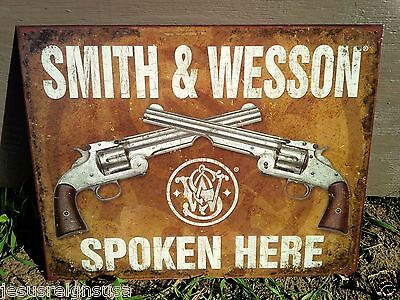 SMITH and WESSON SPOKEN HERE Guns Tin Metal Sign Wall Garage Classic