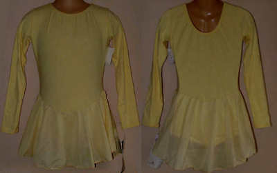 NWT 8y CHILD Ice Roller Skating Dress Yellow Majorette Dance Costume Leotard
