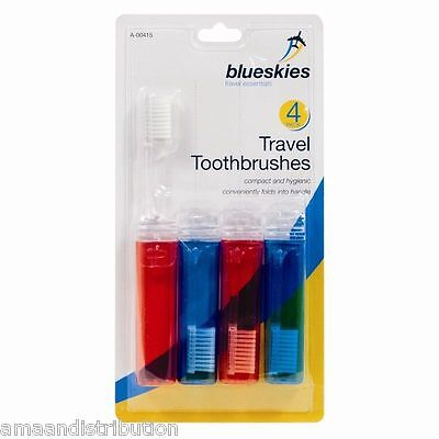 4 X Travel Toothbrushes Fold Up Away ~Family Pack~ Camping Holiday Gigs Festival