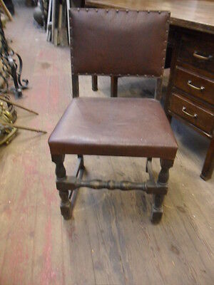 antique hardwood dining gothic hall chair with studded seat and back  to restore
