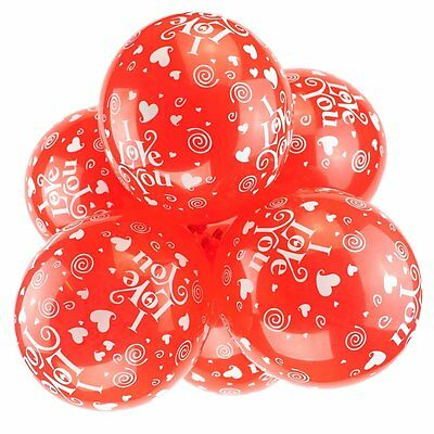 """Pack of 10 - 12"""" Latex Balloon I Love You/Hearts - Party Balloons"""