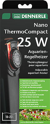 Dennerle Thermo Compact 25W Aquarium Heater semi-electronic LED 17-36C Nano 16cm