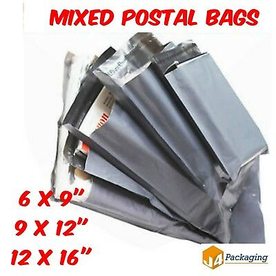 30 Mixed Mailing Bags Assorted Strong Grey Plastic Mailers 3 Sizes Free Postage