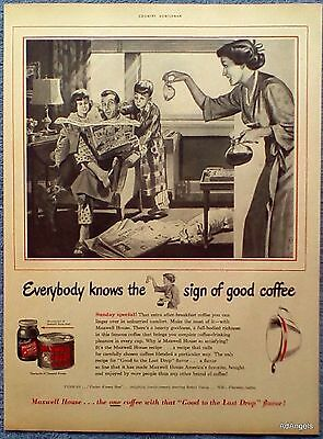 1950 Maxwell House Coffee Father Children Reading Comics Newspaper Mink B&W ad