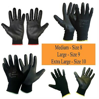 6 Warrior Black Work Gloves PU Coated Builders Mechanic Construction Industrial