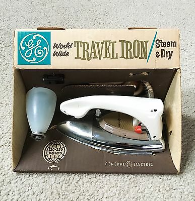Vintage 1950s General Electric Worldwide Travel Iron F39 w/ Box - WORKS!!