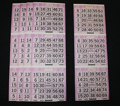 BINGO PAPER Cards 3 on 1 Purple Tint  Vertical,  125 sheets  FREE SHIPPING US